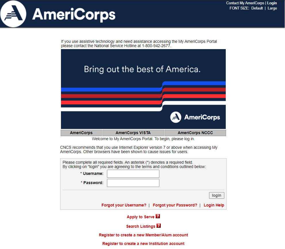 MyAmeriCorps portal login