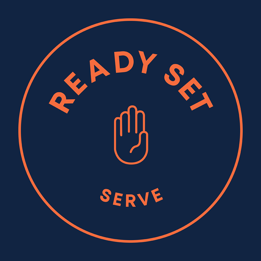 Ready Set Serve campaign logo with a hand