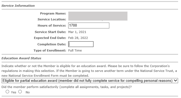 Service Information includes Program Name, Service Location, Hours of Service: 1700, Service Start Date, Expected End Date, Completion Date: 3/26/2020, and Type of Service