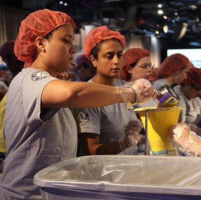 A group women wearing hair nets