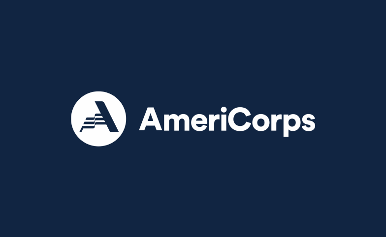 AmeriCorps logo on a navy blue background