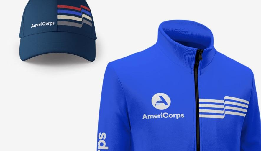 AmeriCorps sweatshirt and hat