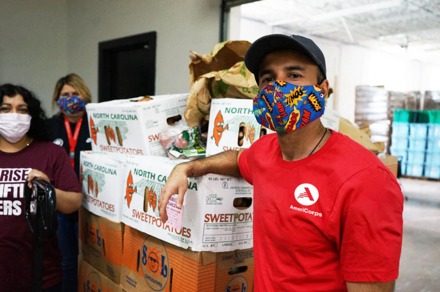 AmeriCorps team in masks