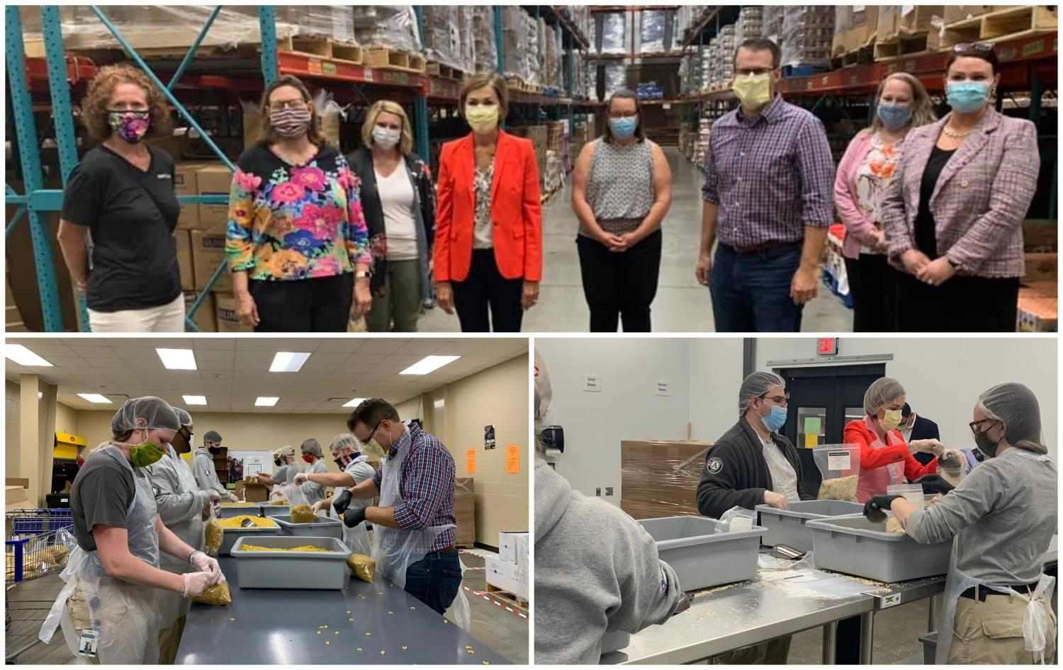 Governor Reynolds served alongside AmeriCorps members, learning about new initiatives in Iowa to address rising food insecurity as a result of COVID-19 and the economic recession.